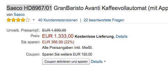 Amazon Gutscheine Für Kaffeevollautomaten 35 150 Sparen