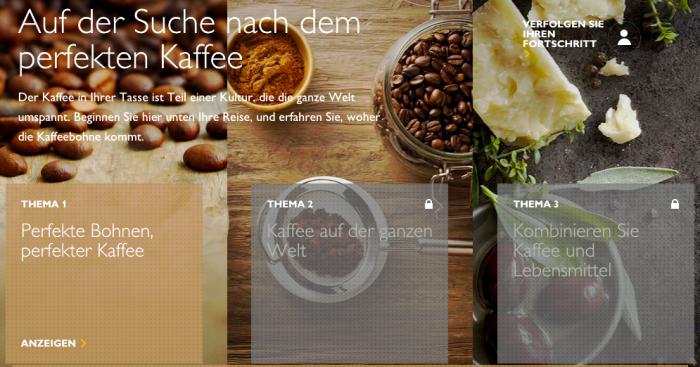 Liebevoll gestalteter und umfangreicher Bereich bei MySaeco: Kaffee Trainings